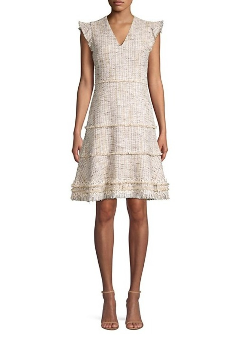 Elie Tahari Loraine Fringed Tweed Flare Dress