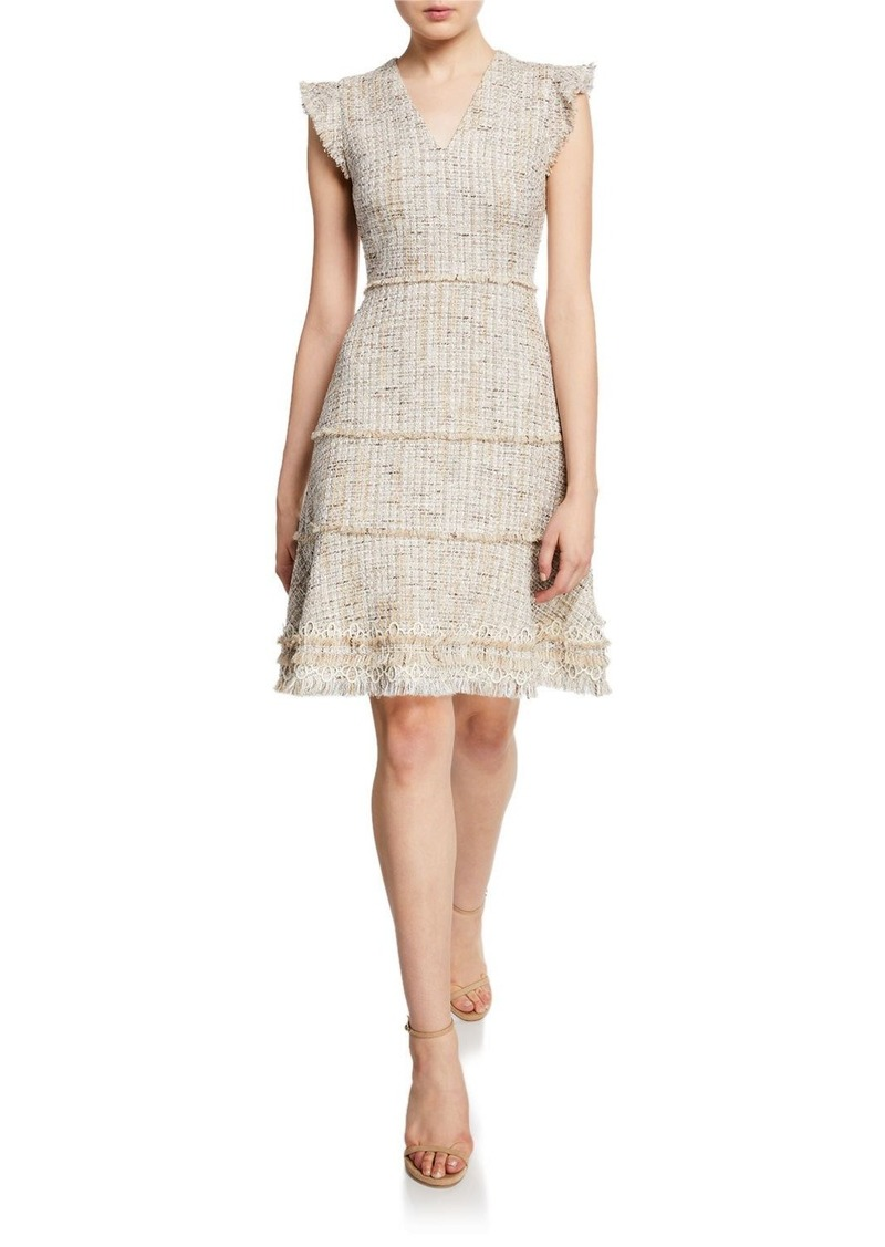 Elie Tahari Loraine V-Neck Short-Sleeve Tweed Dress