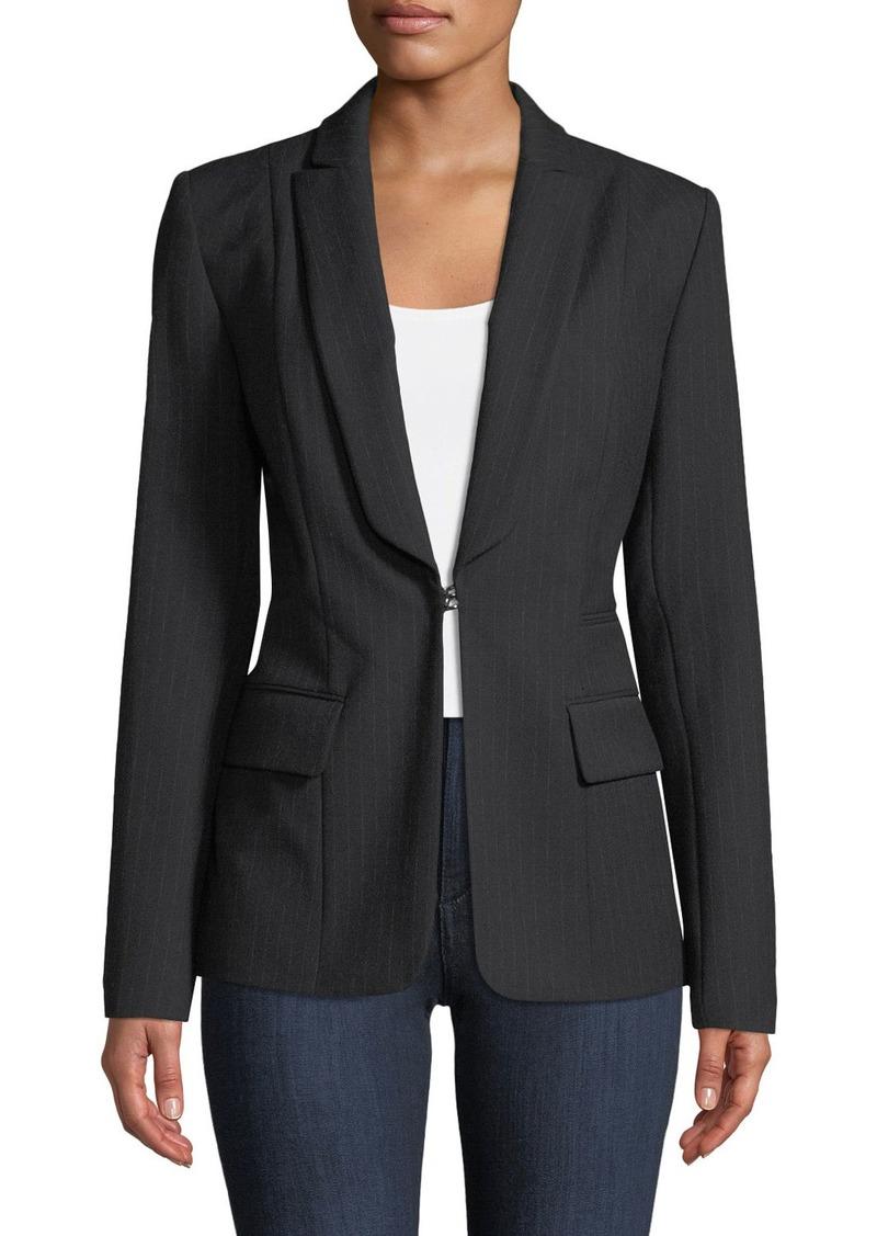 Elie Tahari Lorelei Hook-Front Pinstripe Wool-Blend Jacket