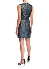 Elie Tahari Loren Belted Circle Pattern Brocade Sleeveless Dress