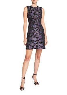 Elie Tahari Louisa Floral Jacquard Sleeveless Mini Dress