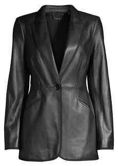 Elie Tahari Madison Single-Breasted Leather Jacket