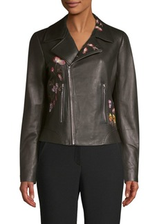 Elie Tahari Mae Embroidered Moto Jacket