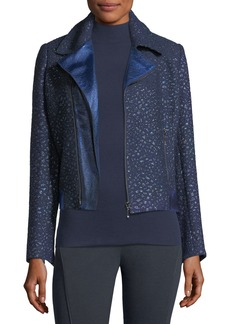 Elie Tahari Mae Mixed-Media Moto Jacket