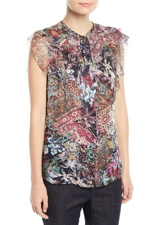 Elie Tahari Mala Sleeveless Printed Silk Blouse