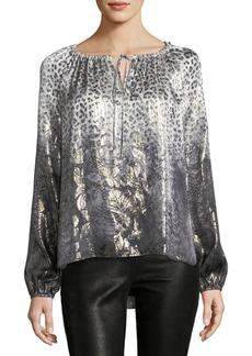 Elie Tahari Mariella Long-Sleeve Metallic Silk-Blend Blouse