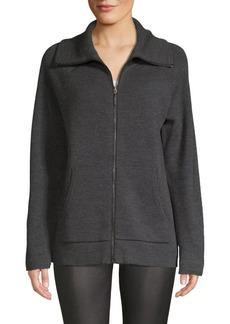 Elie Tahari Marietta Zip-Front Merino Wool Sweater