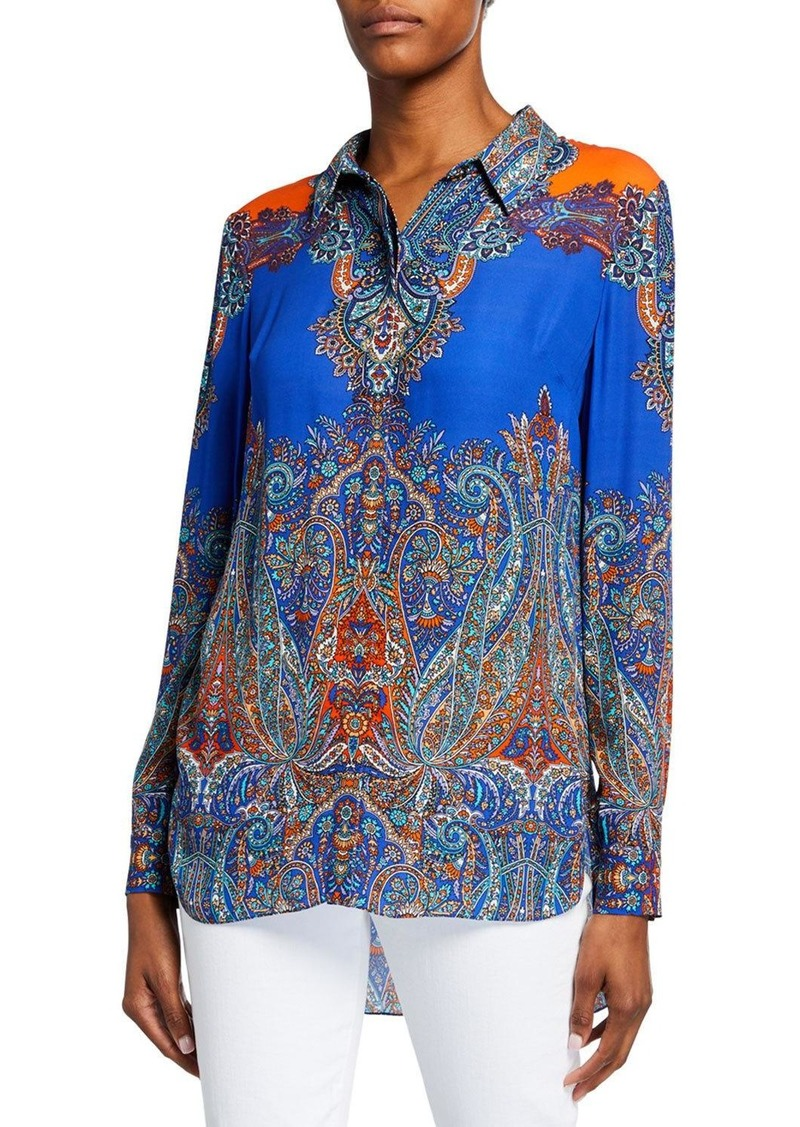 Elie Tahari Martha Printed Long-Sleeve Button-Down Blouse