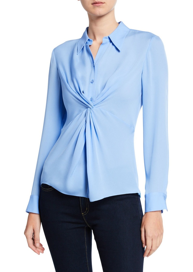 Elie Tahari Mary Jane Silk Twisted Blouse
