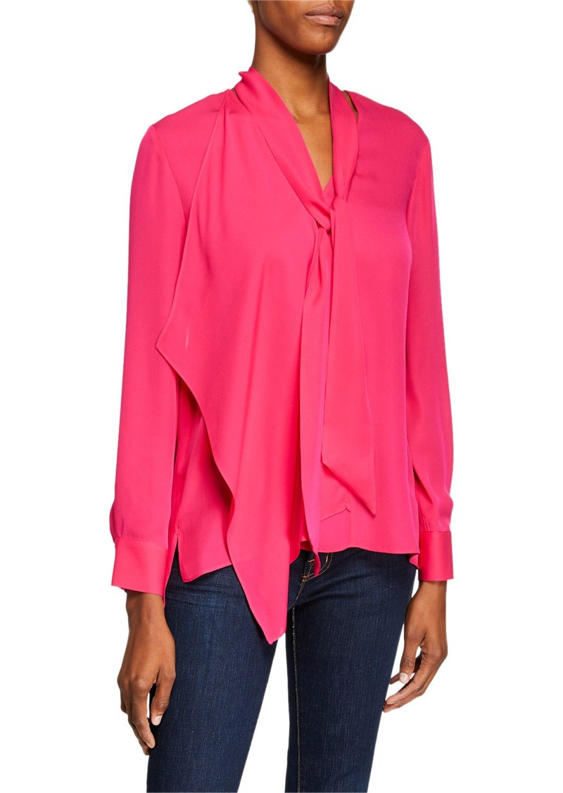 Elie Tahari Marzy Tie-Neck Long-Sleeve Silk Blouse