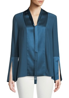 Elie Tahari Maverick Tie V-Neck Slit-Cuffs Silk Blouse