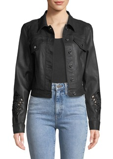 Elie Tahari Meggy Denim Jacket w/ Embroidery