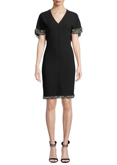 Elie Tahari Merci Cape-Sleeve Sheath Dress with Beaded Fringe