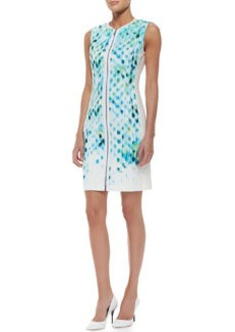 Elie Tahari Mila Sleeveless Primavera-Print Cotton Sheath Dress   Mila Sleeveless Primavera-Print Cotton Sheath Dress