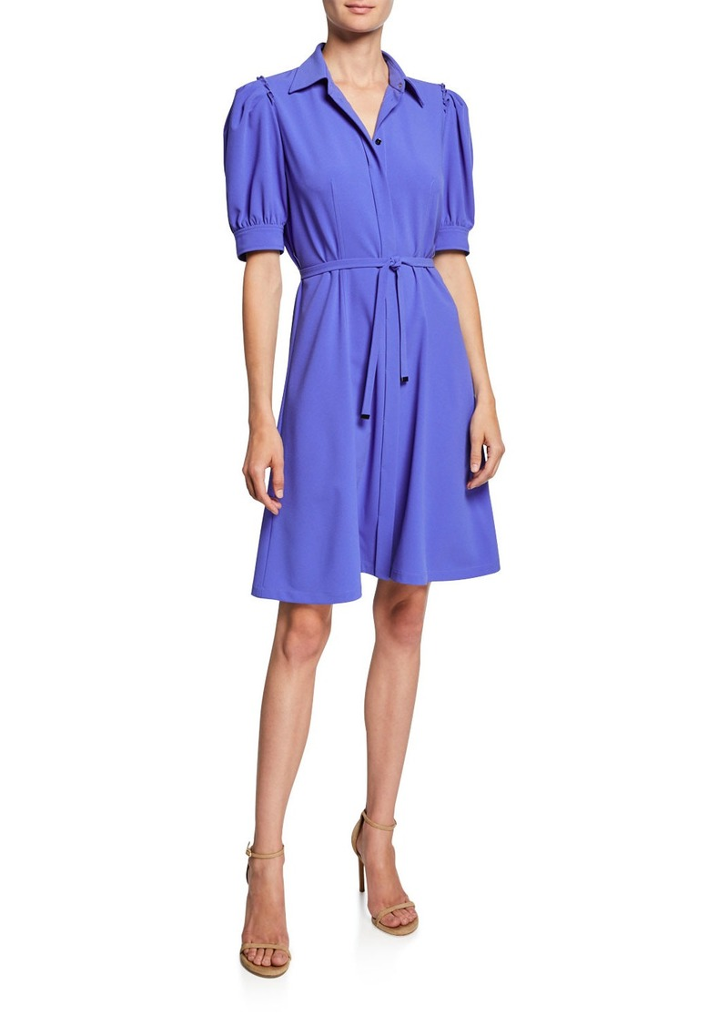 Elie Tahari Mildred Button-Front Short-Sleeve Belted Crepe Dress