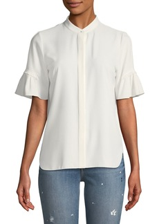 Elie Tahari Mina Gather-Sleeve Blouse