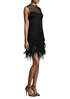 Elie Tahari Mirage Feather-Trim Cocktail Dress