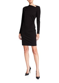 Elie Tahari Mozelle Asymmetric Long-Sleeve Ponte Dress