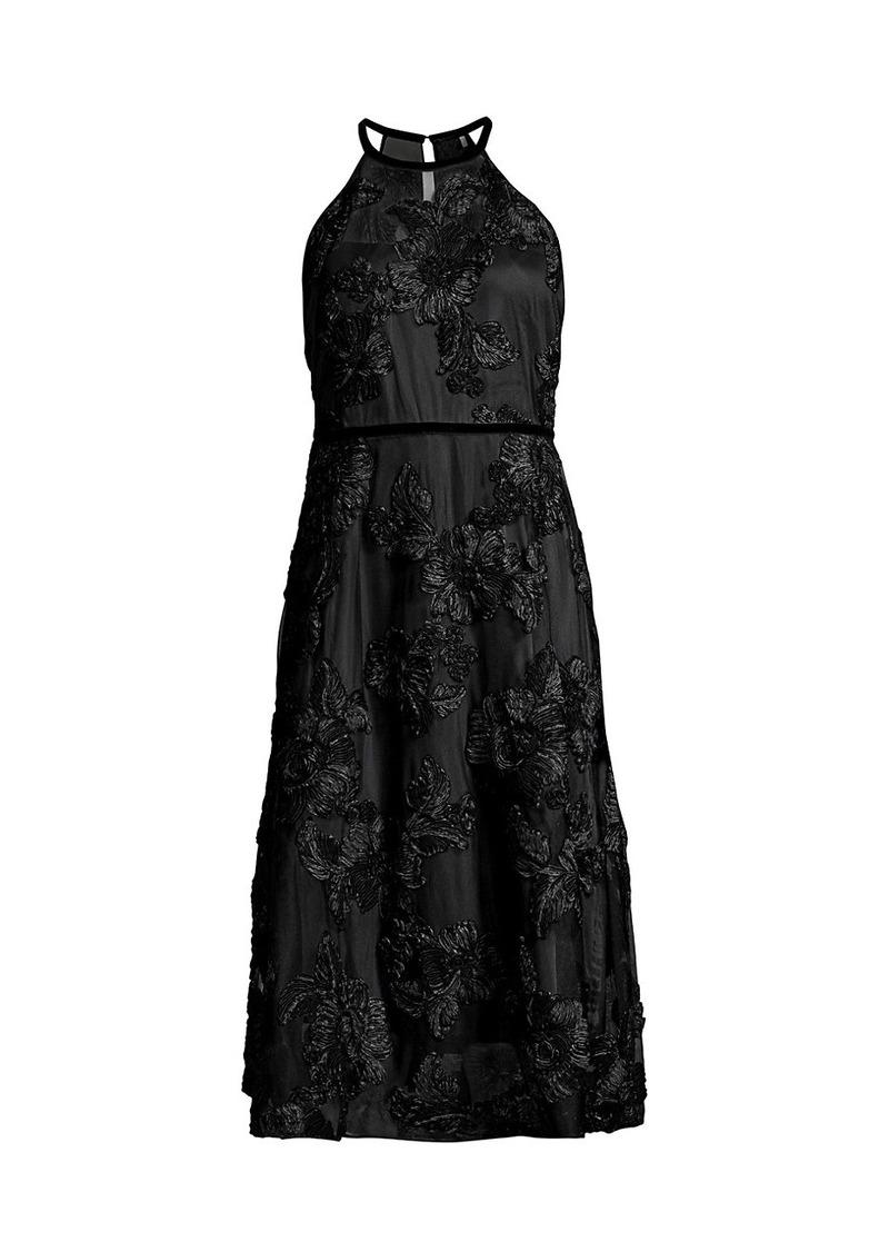 Elie Tahari Myranda Embroidered Applique Halter Dress