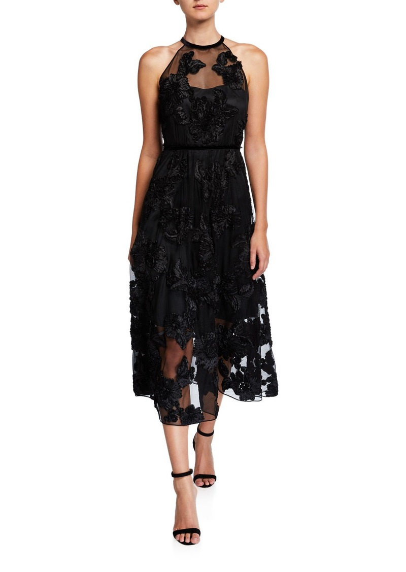 Elie Tahari Myranda Floral Applique Midi Halter Dress