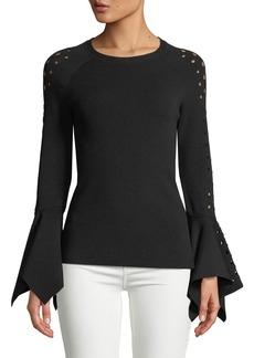 Elie Tahari Naaz Perforated-Sleeve Sweater