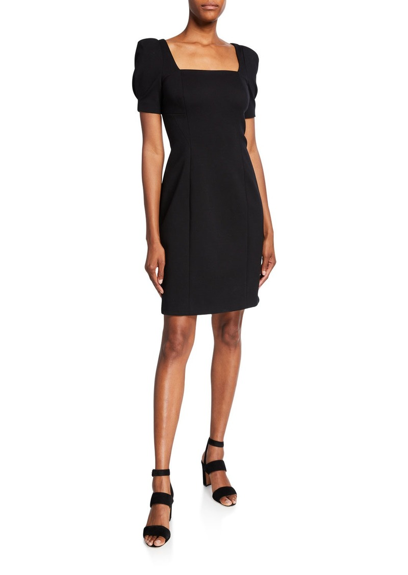 Elie Tahari Nacia Square-Neck Short-Sleeve Sheath Dress