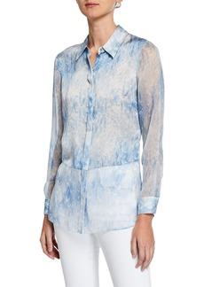 Elie Tahari Nailah Tie-Dye Button-Down Long-Sleeve Silk Blouse