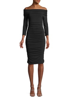 Elie Tahari Naomie Off-the-Shoulder Ruched Sheath Dress