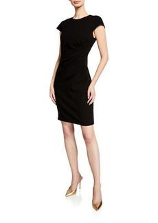Elie Tahari Natalia Cap-Sleeve Ruched Sheath Dress