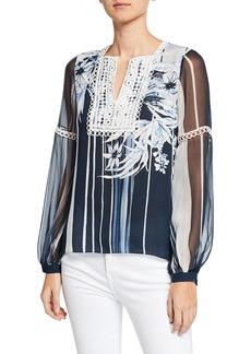 Elie Tahari Naydean Striped Floral-Print Long-Sleeve Blouse