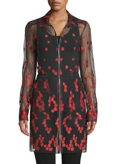 Elie Tahari Nicolette Sheer Embroidered Coat
