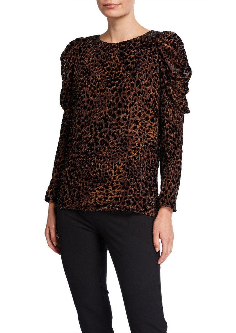 Elie Tahari Noelle Animal Puff-Sleeve Blouse