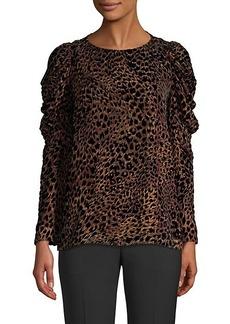 Elie Tahari Noelle Leopard Print Velvet Burnout Blouse