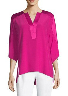Elie Tahari Nolia High-Low Silk Blouse