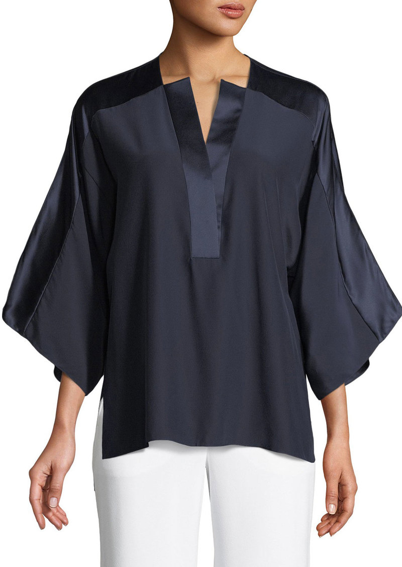 d5b42d9d73f9e On Sale today! Elie Tahari Nolia Silk-Trim Blouse