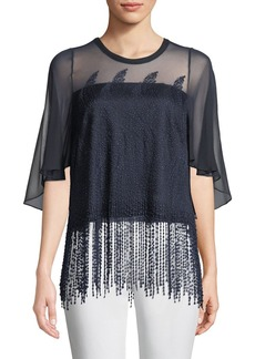 Elie Tahari Noreen Beaded Chiffon Blouse