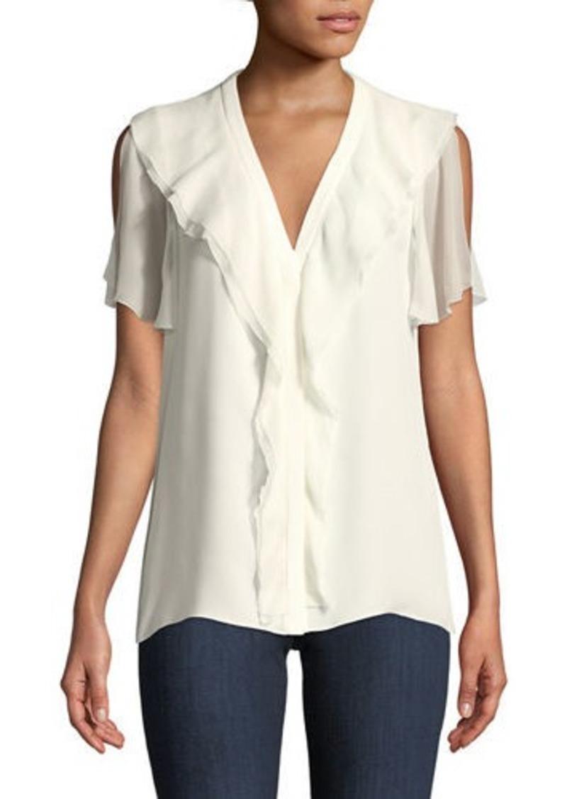b2d53f2cb323 Elie Tahari Opaline Ruffle-Trim Silk Blouse | Casual Shirts