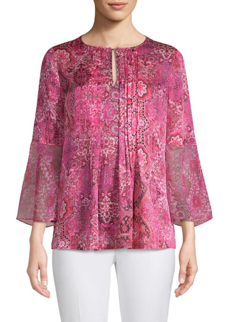 Elie Tahari Orion Printed Bell-Sleeve Silk Blouse