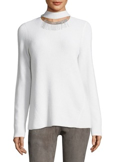 Elie Tahari Oz Ribbed Choker Cashmere Sweater