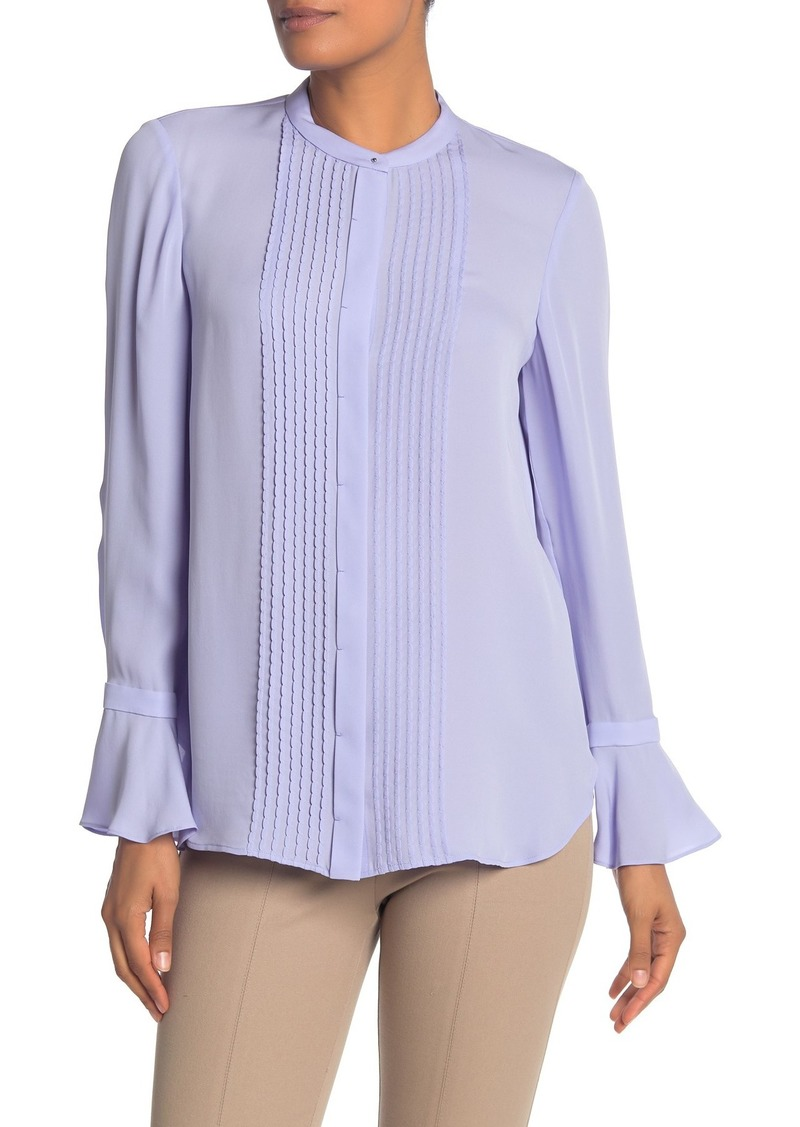Elie Tahari Paige Pintuck Long Sleeve Silk Blouse