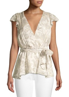 Elie Tahari Pattern Silk Wrap Top