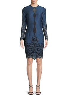 Elie Tahari Pepper Jewel-Neck Long-Sleeve Jacquard Lace Dress