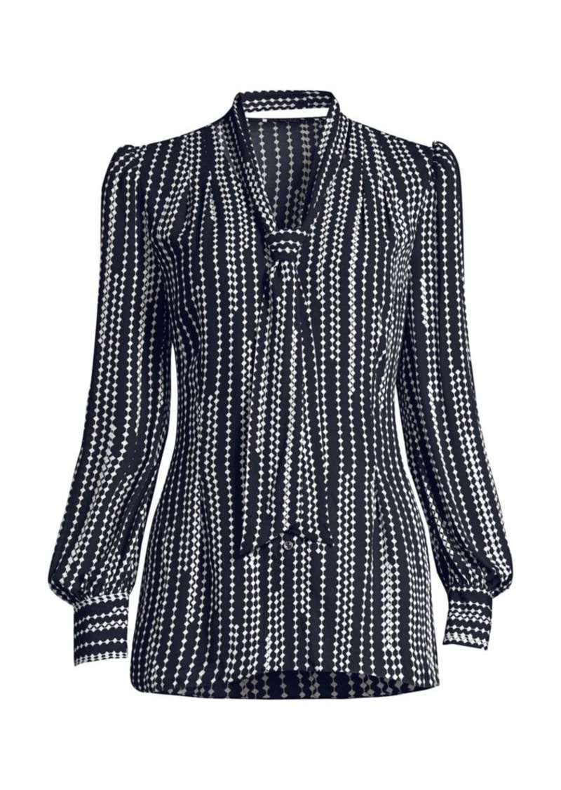 Elie Tahari Percy Puff-Sleeve Print Tie-Neck Shirt