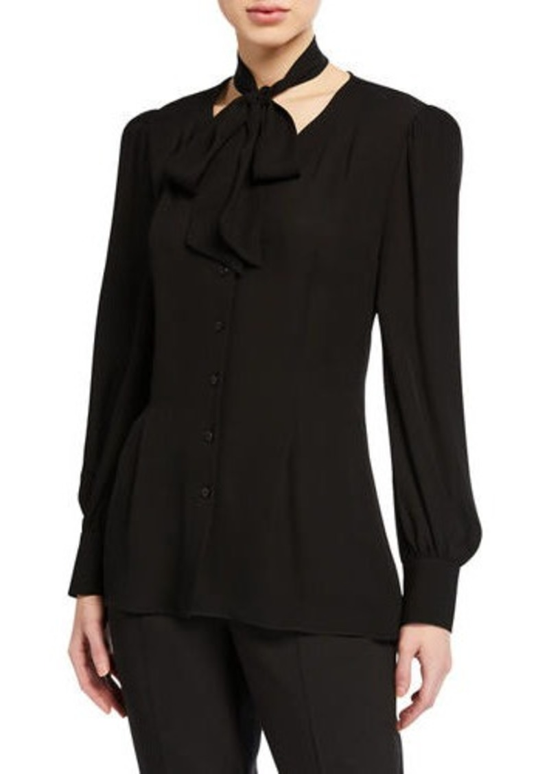 Elie Tahari Percy Tie-Neck Long-Sleeve Silk Shirt