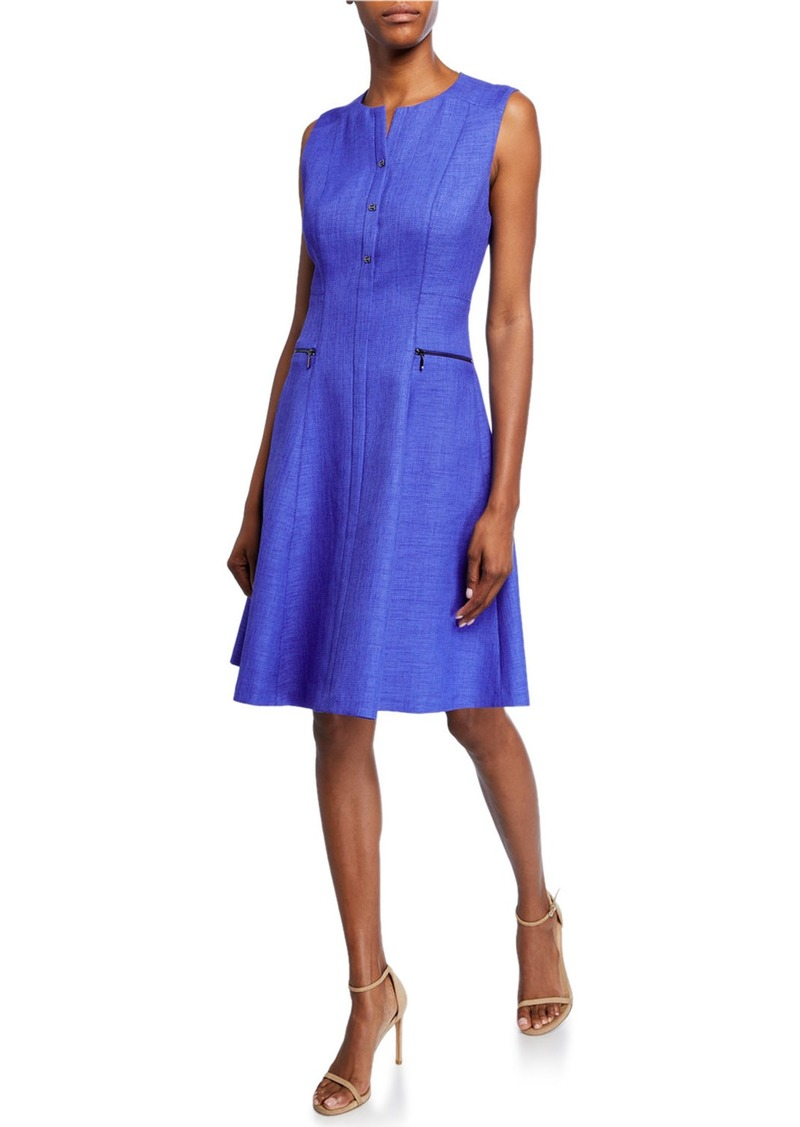 Elie Tahari Peyton Sleeveless A-Line Dress with Side Zip Details