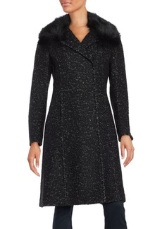 Elie Tahari Raccoon Fur-Trimmed Speckled Coat