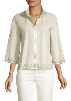 Elie Tahari Rainer Eyelet Lace-Trim Leather Jacket