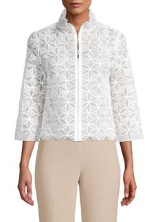 Elie Tahari Rainer Floral Embroidered Silk Jacket