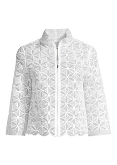 Elie Tahari Rainer Floral Embroidered Silk Jacket