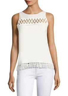 Elie Tahari Raya Fringed Sleeveless Sweater